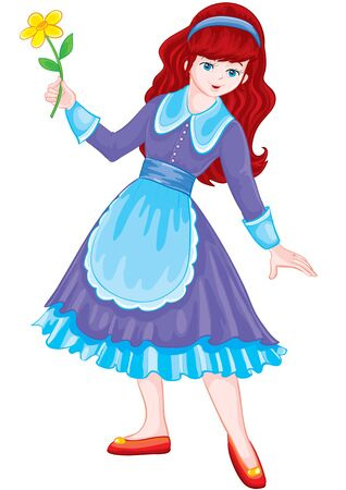 girl as a snow white, holding a flower in her hands, isolated object on a white background, vector illustration
