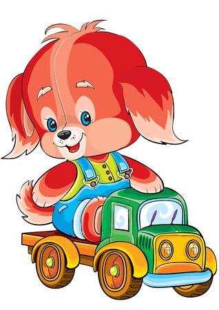 dog toy ride on a toy car, isolated object on a white background, vector illustration