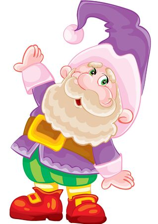 little dwarf in a purple costume, fairytale character, isolated object on a white background, vector illustration, eps