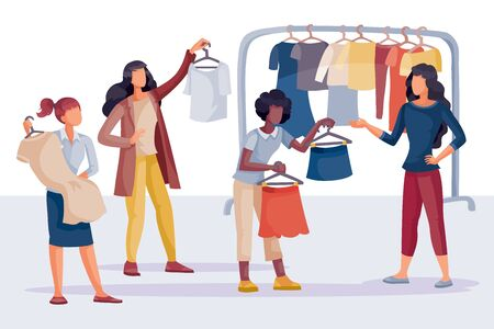 women in the shop buy themselves clothes, dress, blouse, isolated object on a white background, vector illustration,