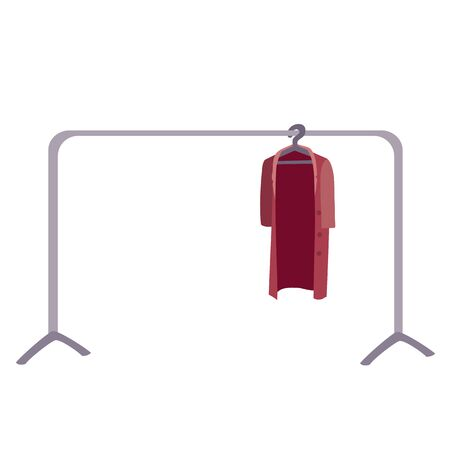 on a hanger in a store hanging coat, isolated object on a white background, vector illustration,