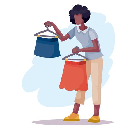African American woman holds a hanger with skirts in each hand and chooses which one to buy, isolated object on a white background, vector illustration,