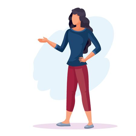 woman stands and asks a question, isolated object on a white background, vector illustration,
