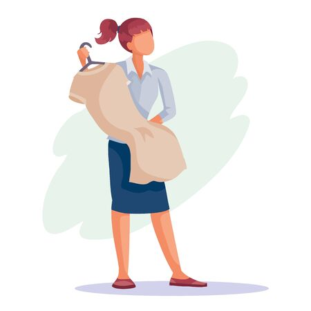 woman holds a hanger with a shirt in her hands and is going to buy it, isolated object on a white background, vector illustration, eps Vectores