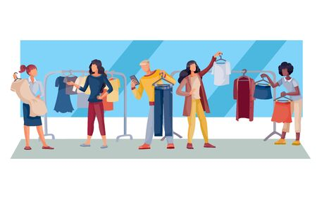 women and a man in a store buying clothes, a dress, a blouse, an isolated object on a white background, vector illustration,
