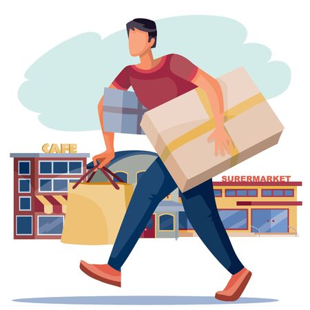 A man carries a large number of purchases and boxes, against the background of shops and cafes, an isolated object on a white background, vector illustration,