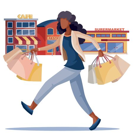 African American girl joyfully steps with a lot of bags in her hands on the background of shops and cafes, isolated object on a white background, vector illustration,