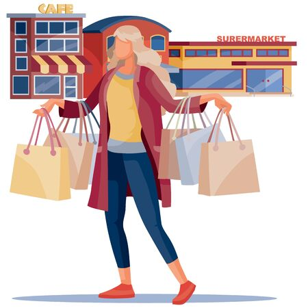girl with blond hair and in a fashionable coat holds a large number of batch purchases in the hands of shops and cafes, isolated item on a white background, vector illustration,