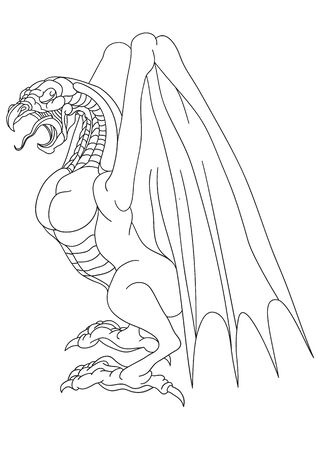 dragon with wings, sketch, outline drawing, isolated object on a white background, vector illustration
