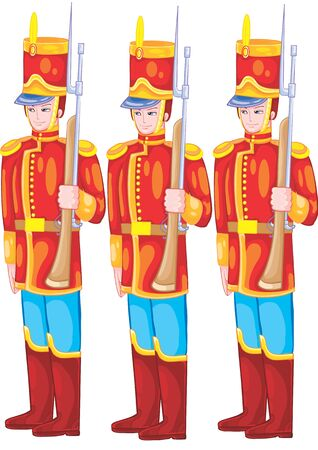 set of three toy soldiers on guard, tin soldier, isolated object on a white background, vector illustration