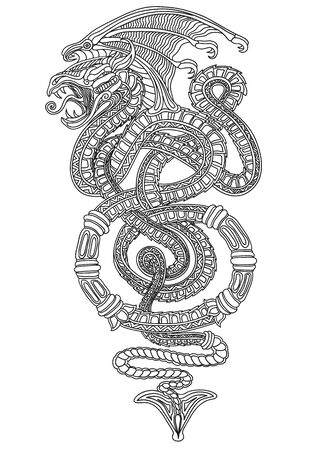 with wings in the form of a snake, sketch, outline drawing, isolated object on a white background, vector illustration