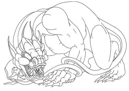 aggressive scary deacon, sketch, outline drawing, isolated object on a white background, vector illustration