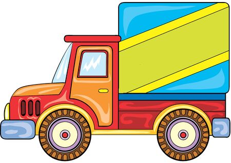 toy truck in bright colors, isolated object on a white background, vector illustration, eps