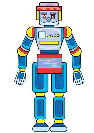 toy robot in blue, isolated object on a white background, vector illustration, eps