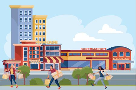 men and women with shopping on the street after quarantine, vector illustration