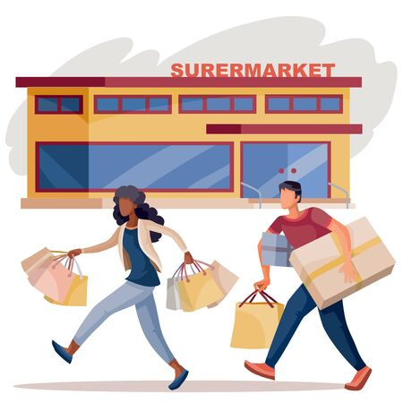 African American girl joyfully strides with a lot of bags in her hands together with a man with boxes on the background of shops and cafes, isolated object on a white background, vector illustration Vektoros illusztráció