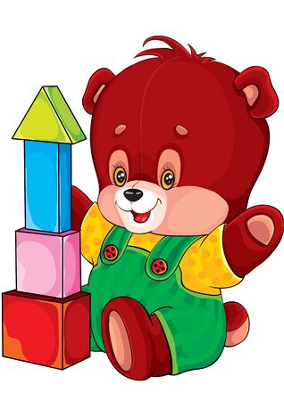 toys, bear and cubes, bear plays with cubes, isolated object on a white background, vector illustration, eps