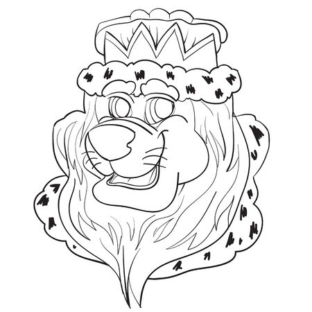 cartoon sketch of a lions head in a crown and mantle, outline drawing, coloring, isolated object on a white background, vector illustration,