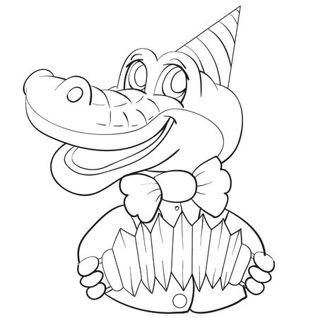 cartoon character of a crocodile in a cap, in a bow-tie and with an accordion in his paws, sketch, isolated object on a white background, vector illustration,