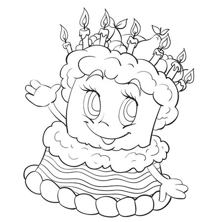 cheerful character of a three-story cake, outline drawing, coloring, sketch, isolated object on a white background, vector illustration,