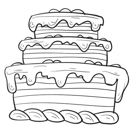 sketch of a three-story cake, vector illustration, outline drawing, isolated object on a white background, Vectores
