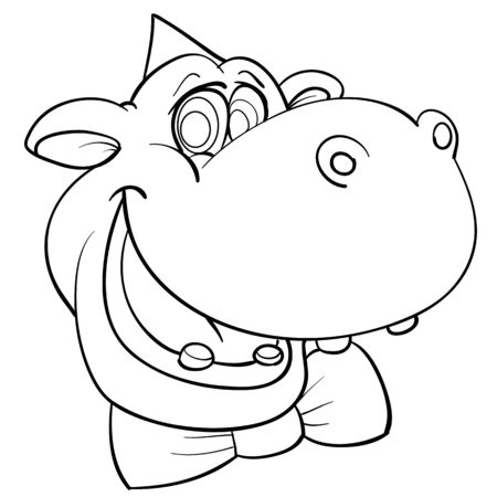 funny sketch of a hippo head in a festive cap and with a butterfly, coloring, isolated object on a white background, vector illustration, Vectores
