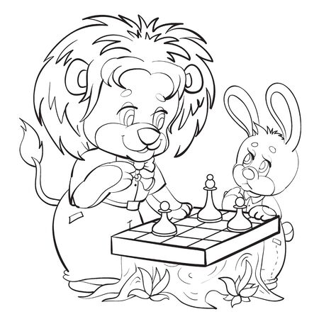 lion and hare characters play chess, cartoon, isolated object on white background, sketch, vector illustration, Vectores