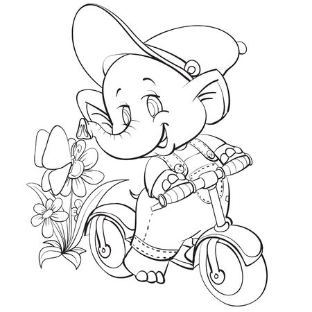 sketch of the character of an elephant who rides a scooter among flowers and butterflies, coloring, isolated object on a white background, vector illustration, Vectores