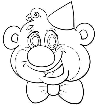 funny sketch of a bears head in a festive cap and with a butterfly, coloring, isolated object on a white background, vector illustration, eps