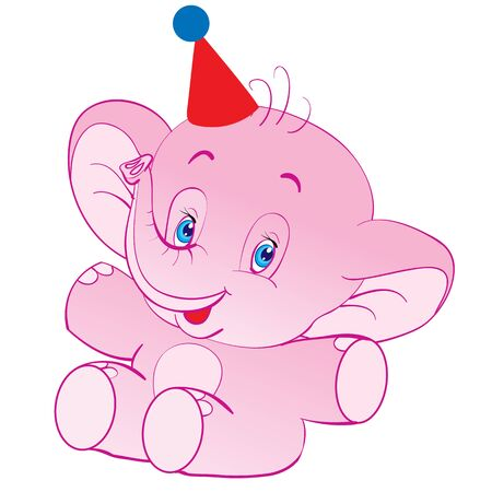 character of a cheerful pink elephant in a party hat, isolated object on white background, vector illustration