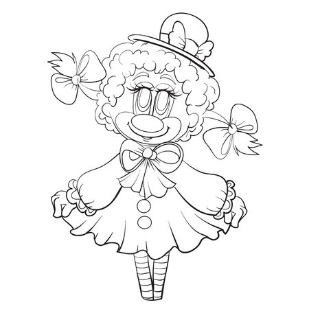 sketch of a sheep character in a hat and pigtails, coloring book, isolated object on a white background, vector illustration, eps 矢量图像
