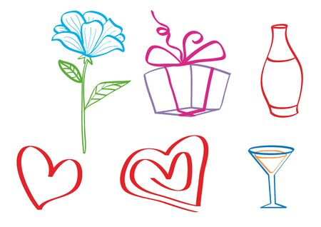 stylized set of flower, hearts, vases and gifts, isolated object on a white background, vector illustration, eps