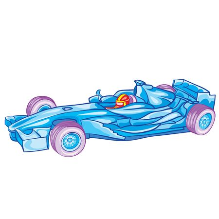 blue racing car with driver inside, toy, isolated object on white background, vector illustration