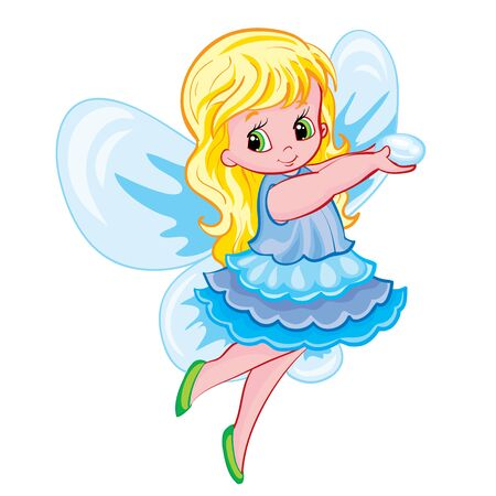 little fairy girl with wings flies and holds a drop of dew in her hands, isolated object on a white background, vector illustration