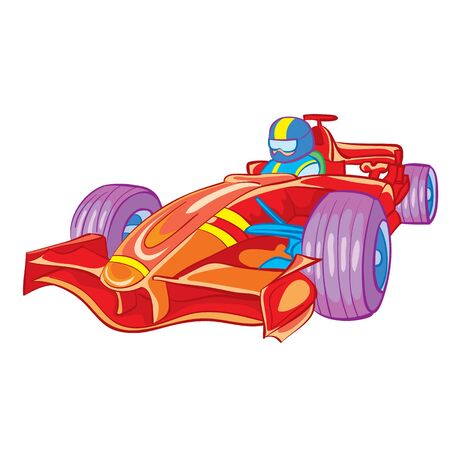 red racing car with driver inside, toy, isolated object on white background, vector illustration