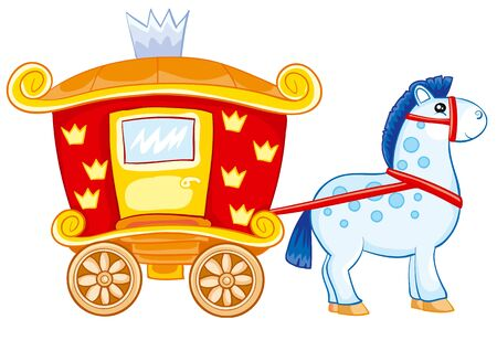 red horse drawn carriage for princess, toy, isolated object on white background, vector illustration, eps