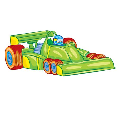 green racing car with driver inside, toy, isolated object on a white background, vector illustration