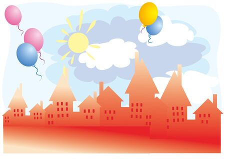 town square, place for celebration, celebration, balloons vector illustration eps Vectores
