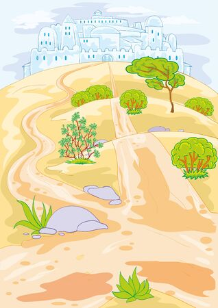 desert landscape with rare bushes and trees and with a small oasis, vector illustration, eps