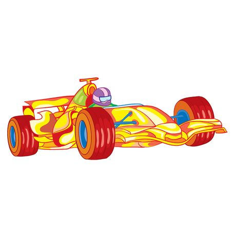 yellow racing car with driver inside, toy, isolated object on white background, vector illustration