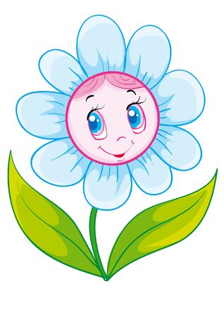 cute flower character, isolated object on white background, vector illustration, eps