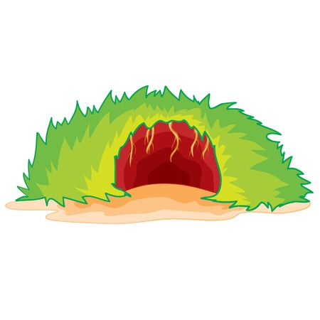 the burrow of some animal from above was overgrown with green grass and inside you can see a brown hole, an isolated object on a white background, vector illustration