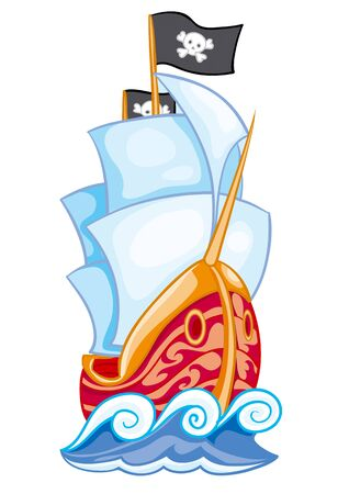 big beautiful ship with white sails and with a pirate flag, isolated object on a white background, vector illustration