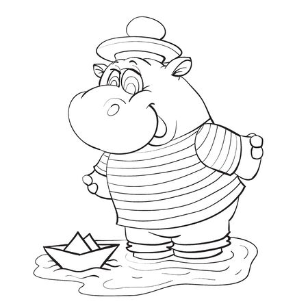 sketch of a hippo character playing with a paper boat in a puddle, coloring, isolated object on a white background, vector illustration