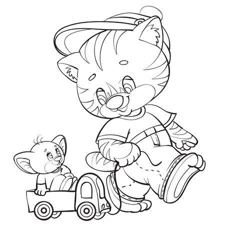 sketch of a kitten character rolls a toy mouse of a cute mouse, coloring, isolated object on a white background, vector illustration, eps