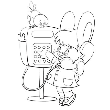 sketch of a cute bunny character calls on a postomatome to someone a bird sits on a postomato and listens carefully to everything, coloring, isolated object on a white background, vector illustration, eps