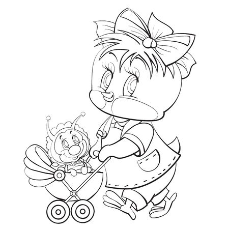 sketch of a chicken character with a bow on his head playing with a pram in which he carries a cute little bug, coloring, isolated object on a white background, vector illustration, eps Illustration