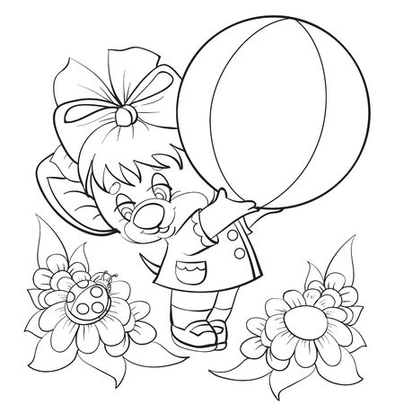 sketch of a mouse character with a bow and a big ball in his hands, coloring book, isolated object on a white background, vector illustration, eps