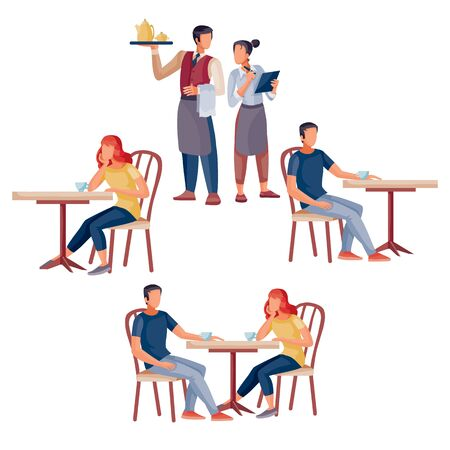 set of people who are sitting at coffee tables and waiters, isolated object on a white background, vector illustration,