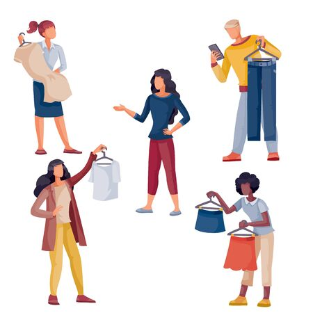 set of people who hold in their hands the clothes that they are going to buy or sellers who offer clothes to a customer, isolated object on a white background, vector illustration, Illustration